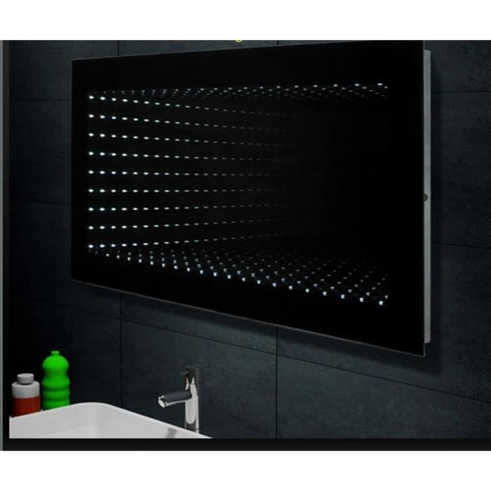 Miroir de salle de bains avec clairage led 120x60cm - Glace de salle de bain avec eclairage ...