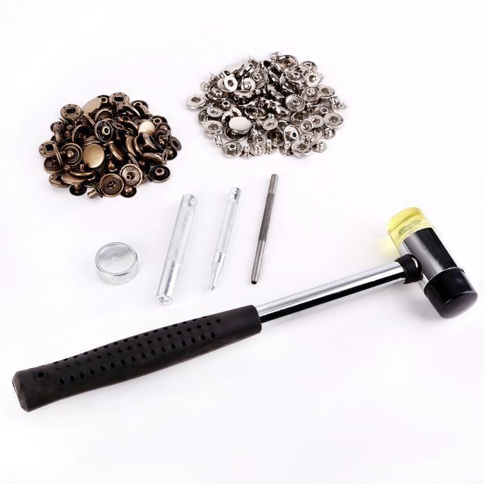 Kit 60x bouton pression métal 15mm argenté bronzé + outil + marteau pour  cuir maroquinerie bbcb10c012d