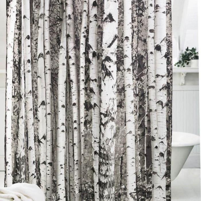 motif arbre rideau de douche de bain en polyester souple. Black Bedroom Furniture Sets. Home Design Ideas