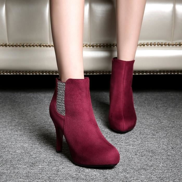 martin boots-Pure Color Heel Thin femme avec Si...