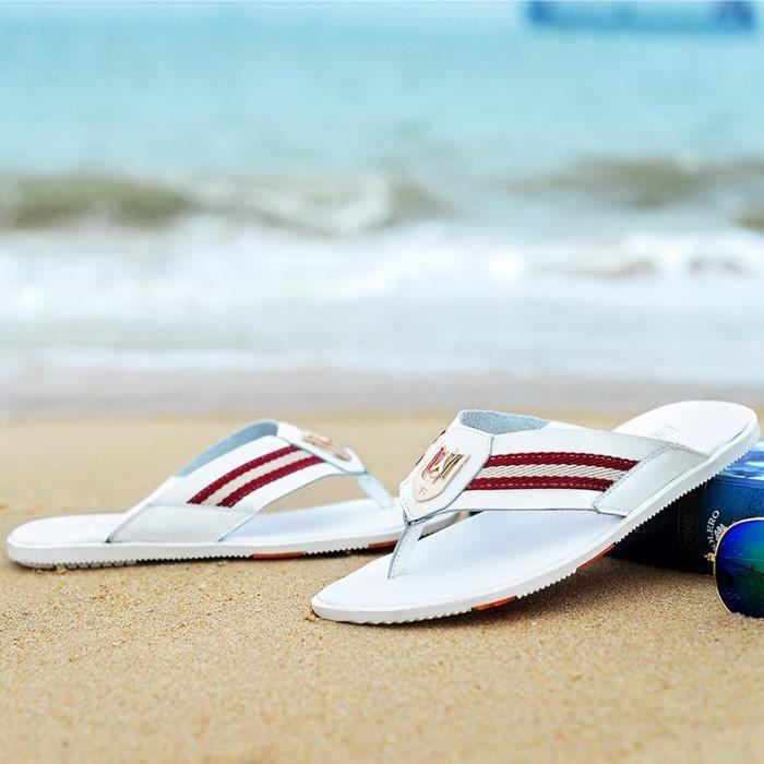 hommes sandales Cuirpantoufles sandales d'été et des pantoufles de la personnalité des hommes WBWu3K