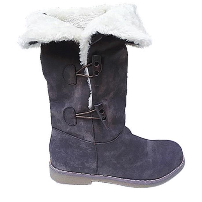 Botte Boots Marron Fourrure Fille Hiver 09 Fourre Fashionfolie888 Lydl Fur Bottine Hautes Femme Neige 1n6dgAAq