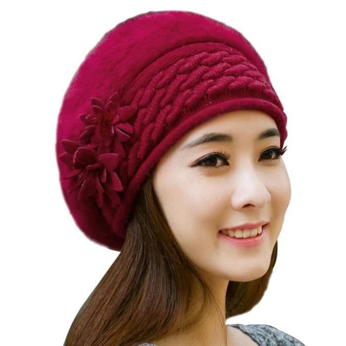 Couleur Unie Fleur De Fil De Laine Tricoté Chapeau Femmes Hiver Élastique  Chaud Bonnet Bonnet Vin Rouge 6d519048623