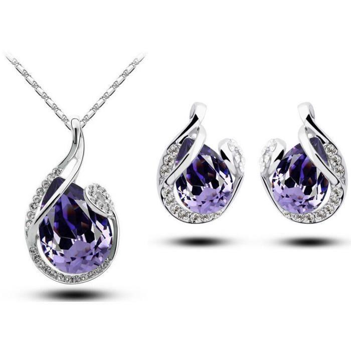 Parure goutte cristal SWAROVSKI ELEMENTS plaqué or blanc couleur Violet