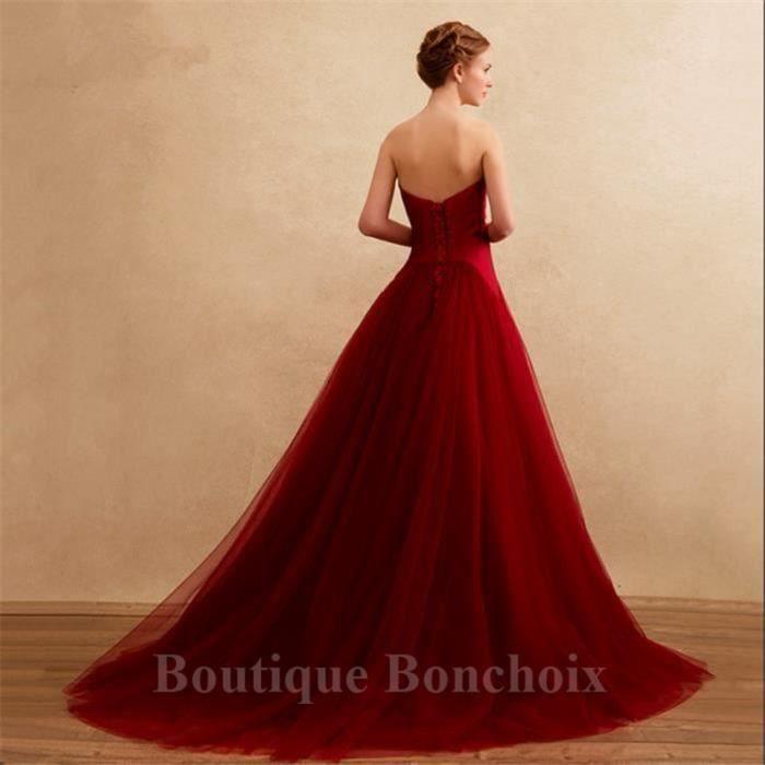 Longue Mariée Femme Cérémonie Tulle Bustier Robes Princesse Bordeaux WrnnPY