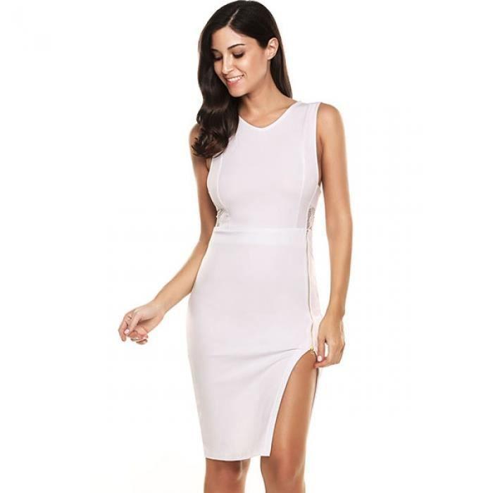 Robe en dentelle Femmes sexy sans manches Patchwork O cou genou longueur taille haute Slim Fit
