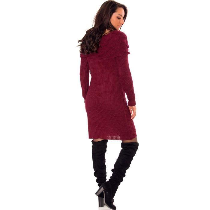 Miss Wear Line - Robe tricot bordeaux à col bateau avec motifs en relief