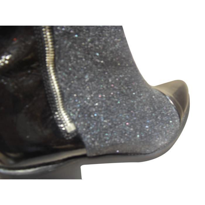 Boots FRANCE MODE strech et cuir vernsi noir PFHgJt8