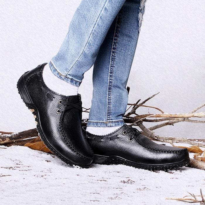 chaudes Size37 d'affaires Hommes de neige cuir britannique en Chaussures style d'hiver d'origine Chaussures 47 Bottes 10xr0Oqvw