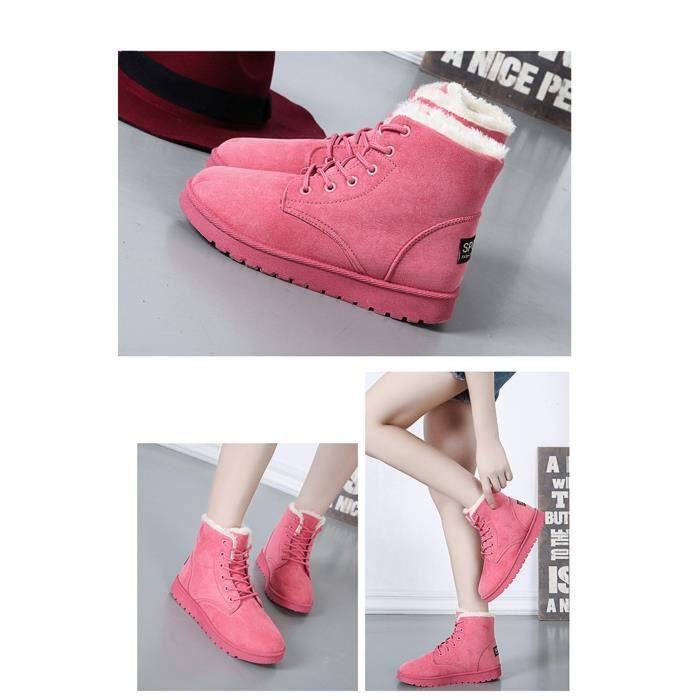Femmes Filles hiver chaud cheville à lacets Bottes de neige plate-forme chaussures plates Sneaker C8DIF Taille-36