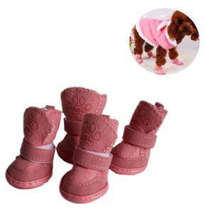 Chaussure pour Chien 4 PCS New Style bottes de neige fourrure d'agneau d'hiver chaussures longueur: 4,8 cm largeur: 4,0 café