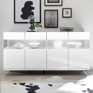 BUFFET - BAHUT  Buffet 4 portes LED design blanc laqué PALERMO 2 L