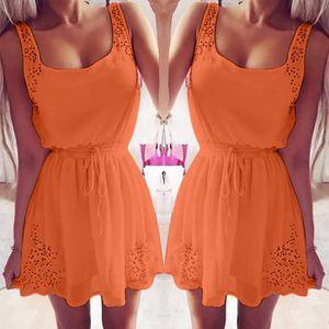 7442d50678d Été sexy femme Casual Robes manches cocktail courte Mini robe Orange ...