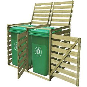 CACHE CONTENEUR Cache-poubelle à roulettes double imprégné en bois