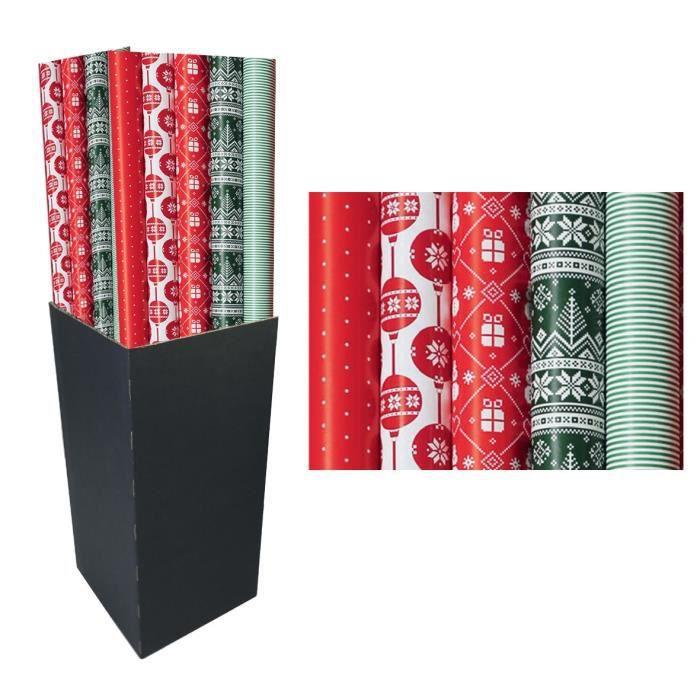 CLAIREFONTAINE Rouleau papier cadeau Alliance Assortiment Noël - 2 x 0,7 m - 60 g / m² - 5 motifs assortis sous film