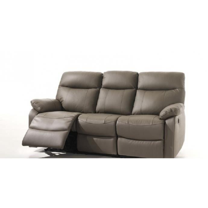 L Idaho  Canapé Relax Electrique 3 personnes cuir gris olive - Achat ... 605e1d6d7c81