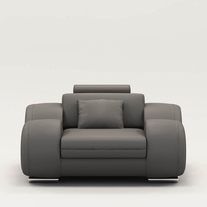 Fauteuil cuir relax design gris OSLO Achat Vente fauteuil Gris