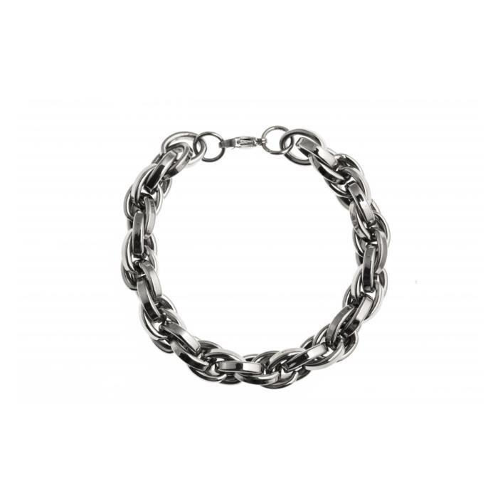 Bracelet acier 20,5 cm Gris