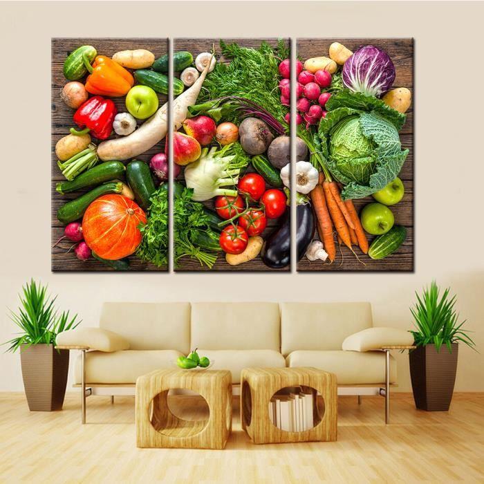 TABLEAU - TOILE 3 morceaux nature encore légumes fruits peinture t