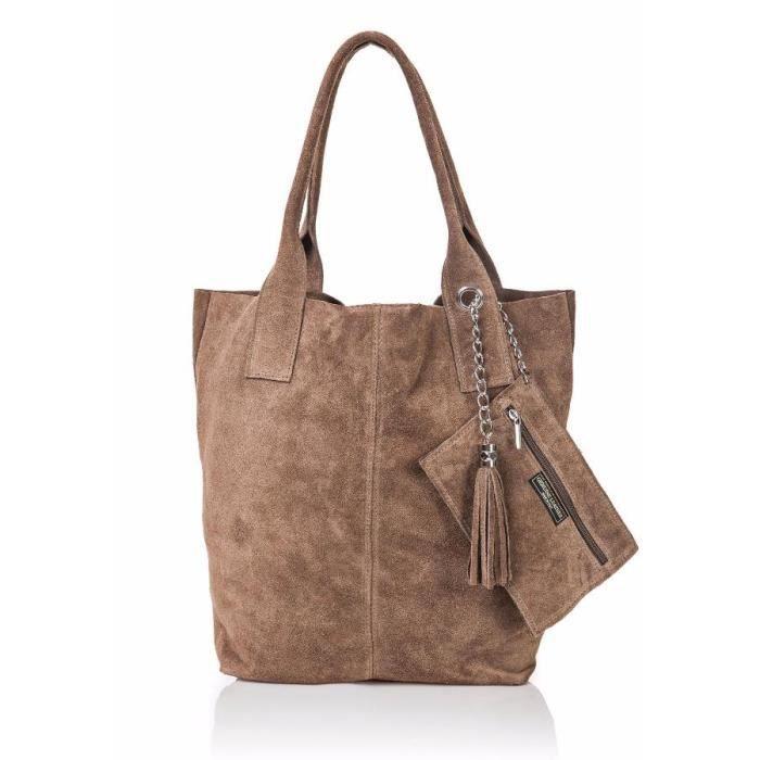grand sac cabas pas cher en daim femme lucy achat. Black Bedroom Furniture Sets. Home Design Ideas