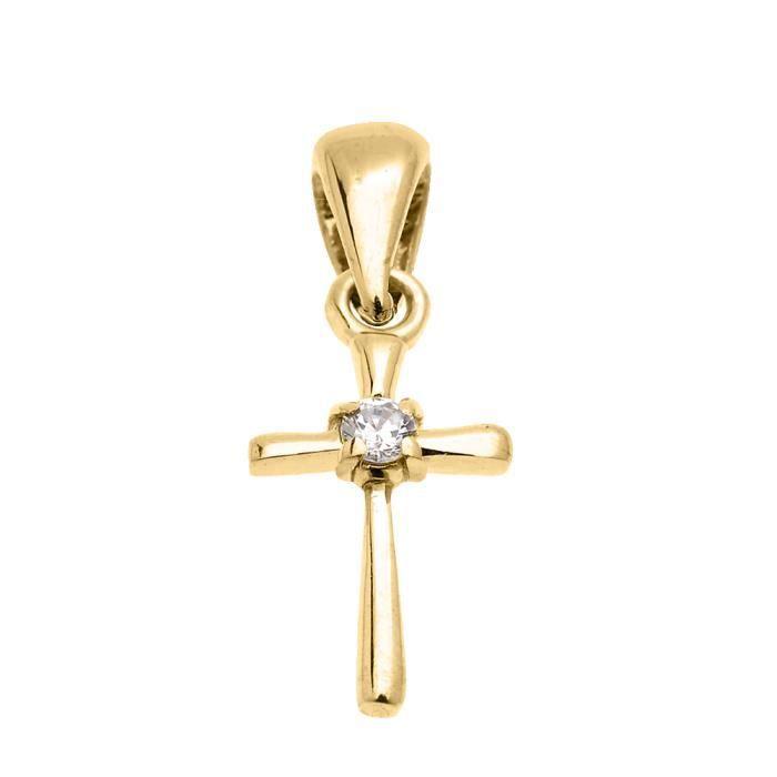 Collier Femme Pendentif Fine 14 Ct Or Jaune Solitaire Diamant Croix Charme (Livré avec une 45cm Chaîne)