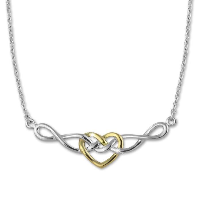SilberDream Collier Bicolore Chaine - Tribal Heart - 925 Argent Sterling 45cm SDK50045Y