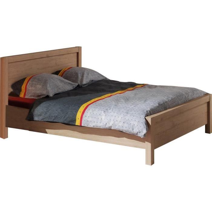 STRUCTURE DE LIT Lit 140 x 200 cm avec tête de lit intégrée couleur