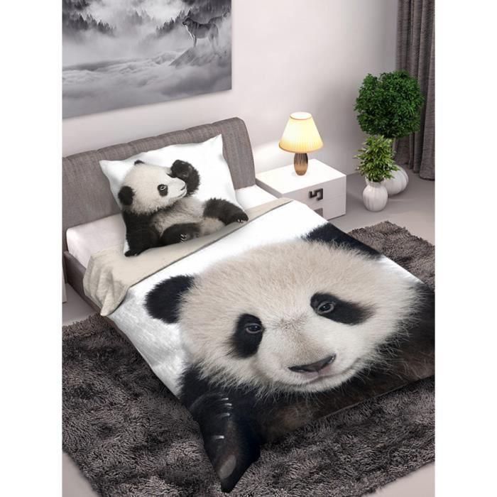 Housse De Couette Panda : housse de couette en coton panda et taie d 39 oreiller achat vente housse de couette soldes ~ Teatrodelosmanantiales.com Idées de Décoration