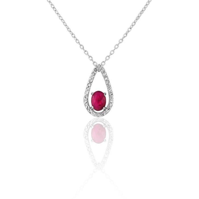 Collier CLEOR en Or 750-1000 Blanc, Rubis Rouge et Diamant