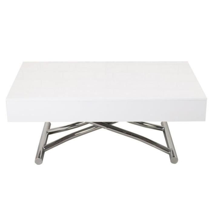 Relevable Cube 12 Brillant Couverts Extensible Table Blanc Basse n0wkX8PO