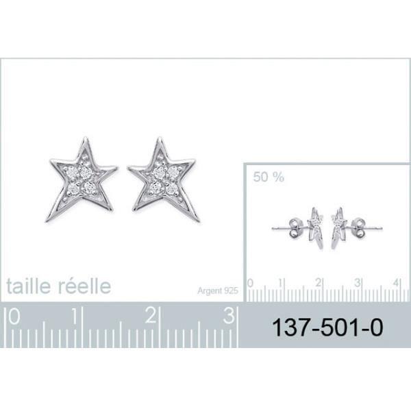 Boucles doreilles étoiles en argent et zirconium