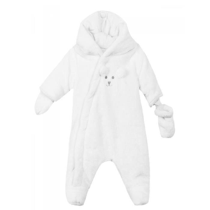 66291de6d2433 ABSORBA - Combinaison pilote naissance fausse fourrure blanche bébé fille  Absorba