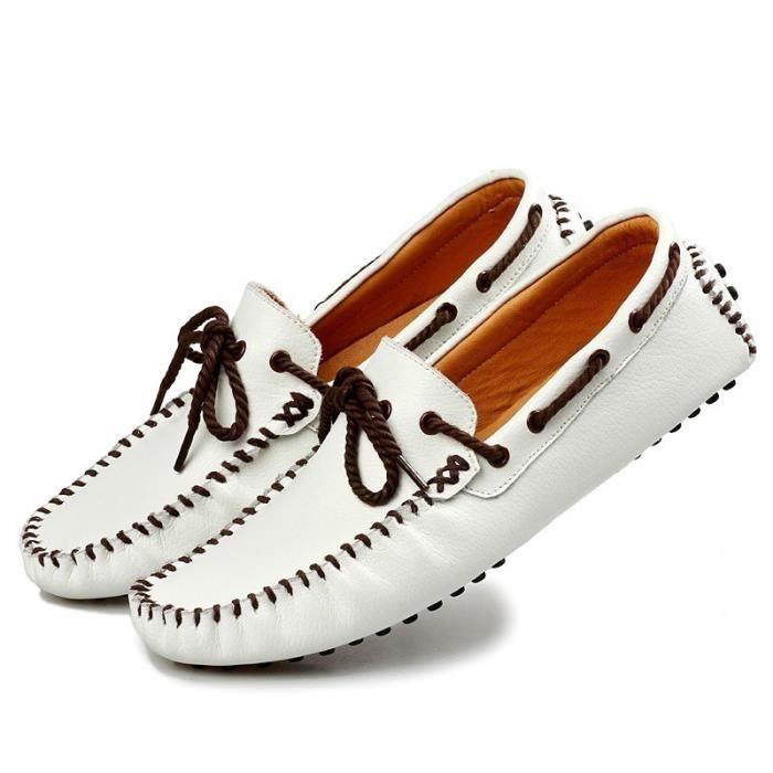 Mode Hommes Mocassins Respirant action Chaussures en cuir Flats hommes d'été Printemps Souliers simple pour homme Sapatos,blanc,42