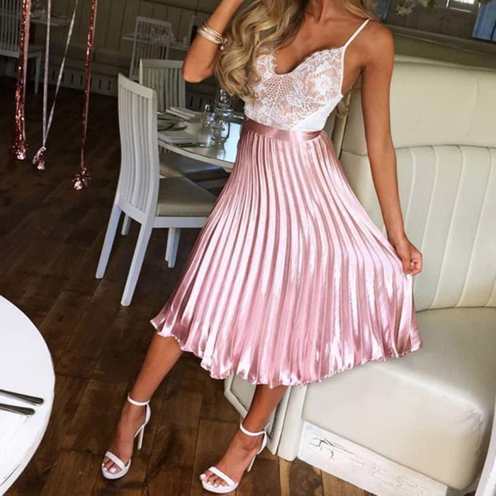 c27e782738b925 Jupe plissee femme taille elastique - Achat / Vente pas cher