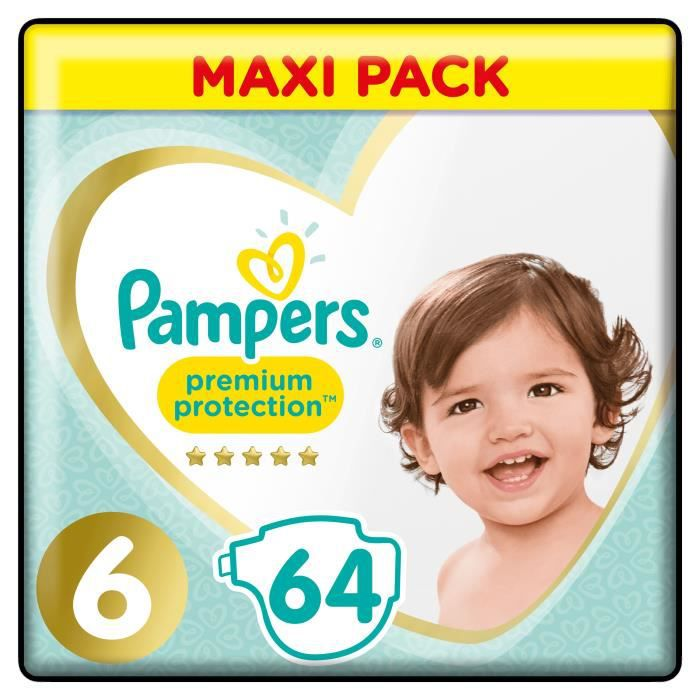 COUCHE PAMPERS Premium Protection Taille 6 - 64 couches -