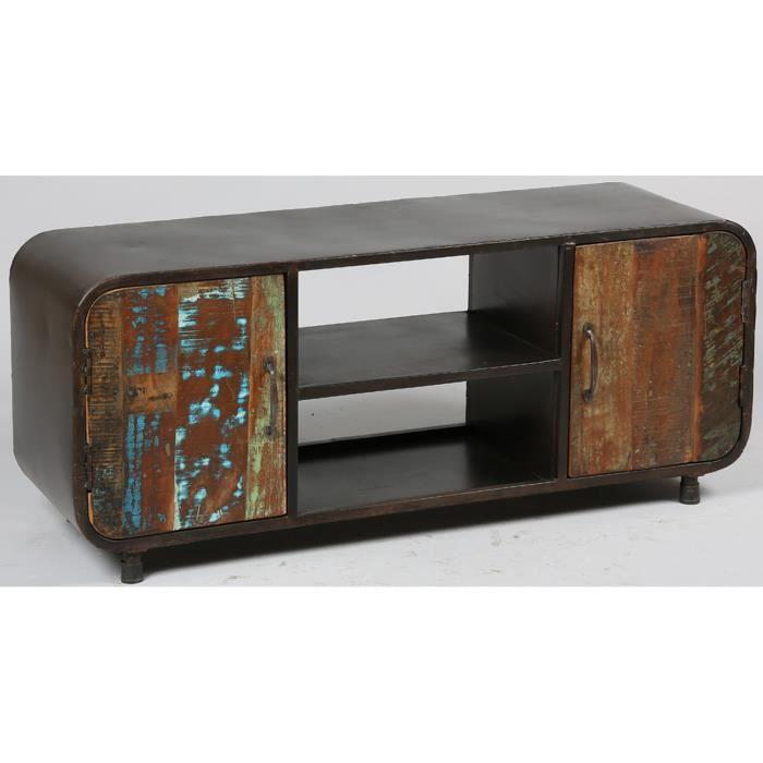 meuble tv en acier et bois de rcupration - Vente Meuble Tv Bois