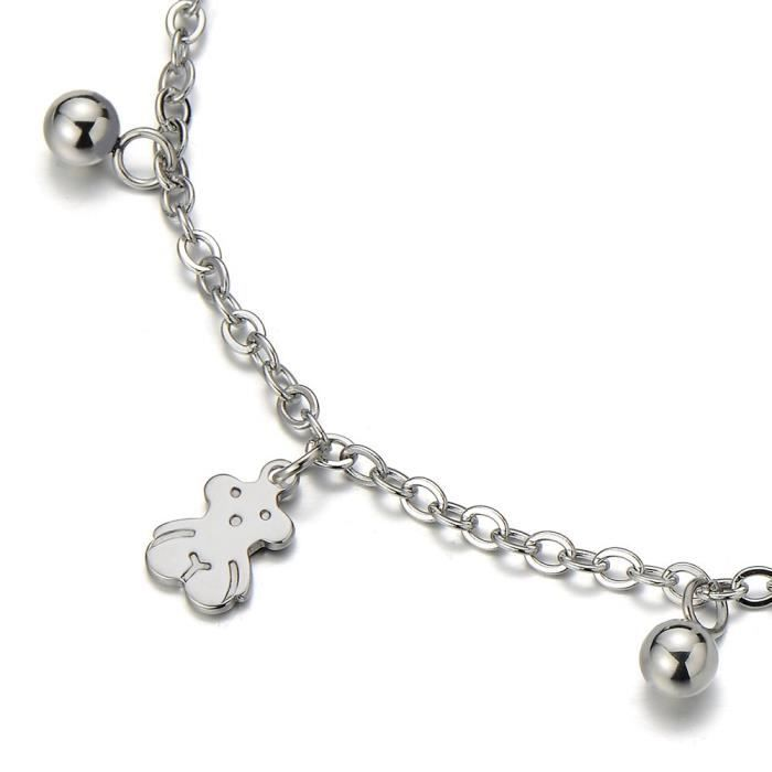 Womens Stainless Steel Anklet Bracelet With Dangling Charms Of Teddy Bears F08XQ