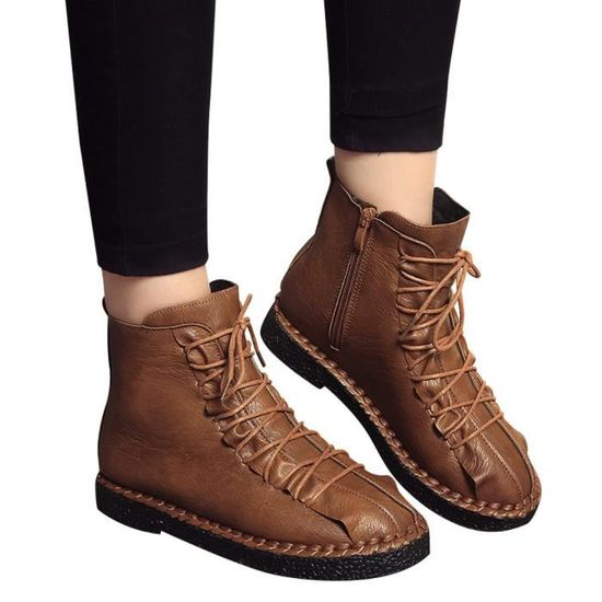 Flat Boots Fashion British 3858 Vintage Martin Femmes uji Marron Student Platform waaxB