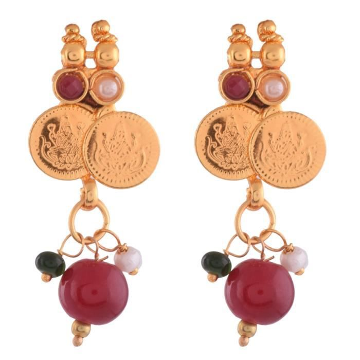 Womens 1 Gram Gold Plated Lakshmi Coin Necklace Set With Maroon, Gree... 3681 O1BAO