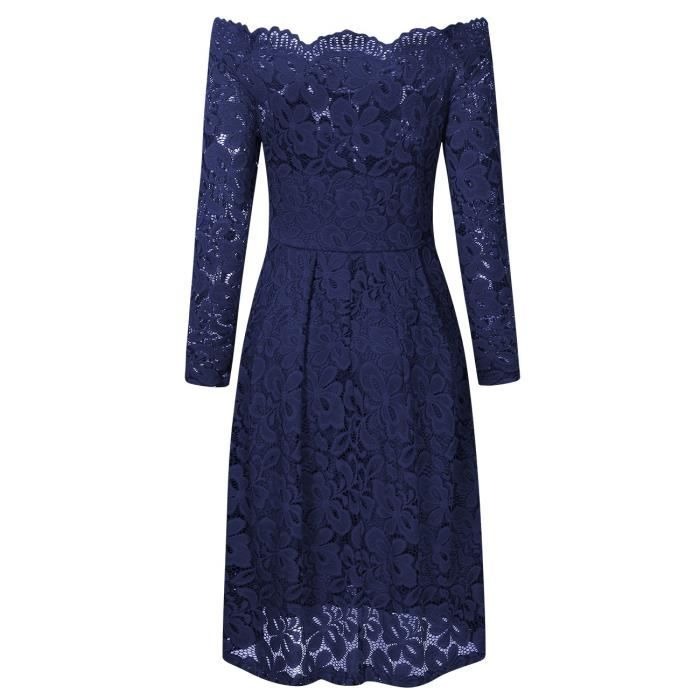 Womens Sexy Straight Collar Dress Elegant Lace V Neck Casual Dress 2IYKGV Taille-36