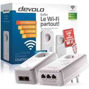 DEVOLO Kit 1 CPL Wi-Fi 500 Mbit/s + 1 CPL Filaire 500 Mbit/s 3 ports Fast Ethernet + Prise Intégrée - Kit de démarrage
