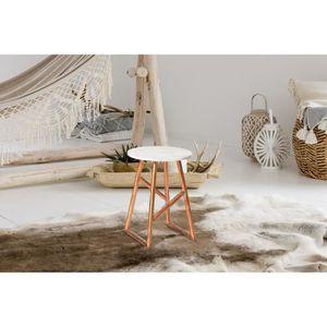 TABLE D'APPOINT ORDER DESK CUIVRE PLAQUE MARBRE design moderne LOF