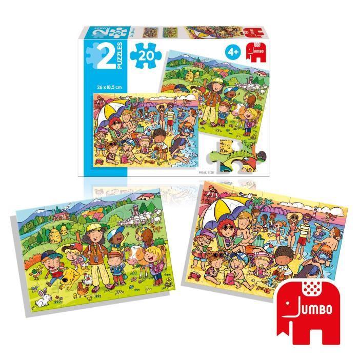 DISET Puzzles 2X 20 pièces Plage et Excursion