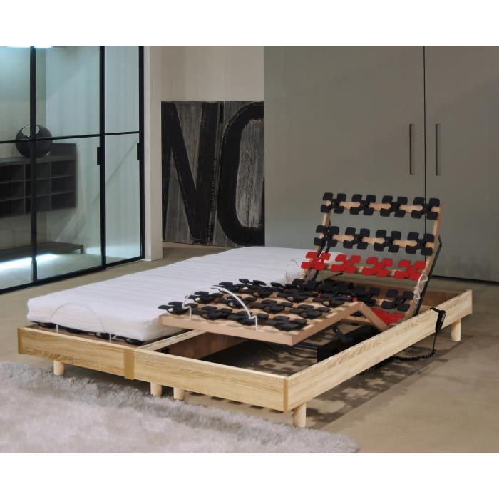 MURCIE  Ensemble matelas + sommiers relaxation 2 x 80 x 200 cm - Mousse - 14 cm - Très ferme - Décor