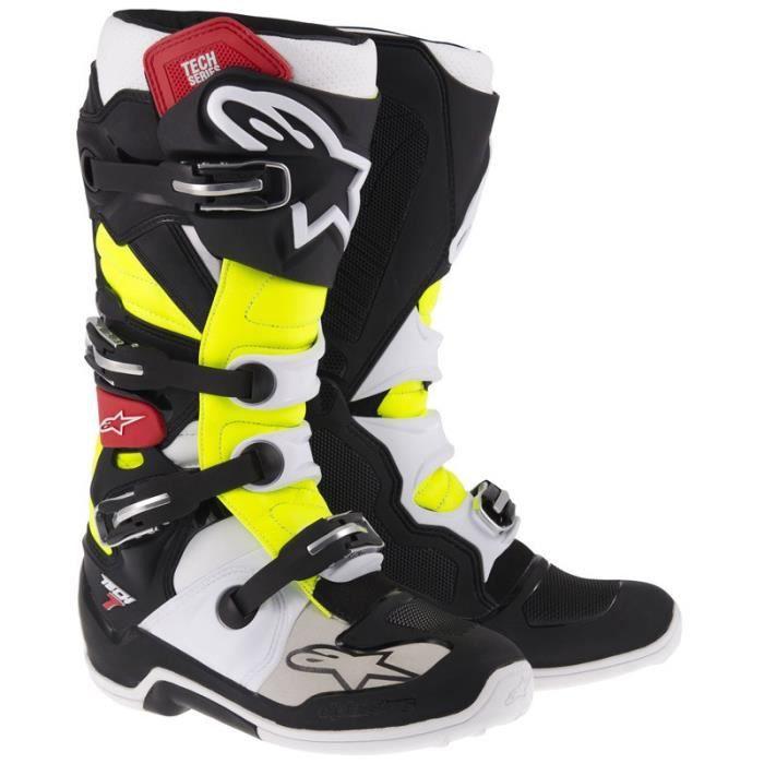 bottes cross alpinestars tech 7 noir jaune fluo rouge noir achat vente chaussure botte. Black Bedroom Furniture Sets. Home Design Ideas