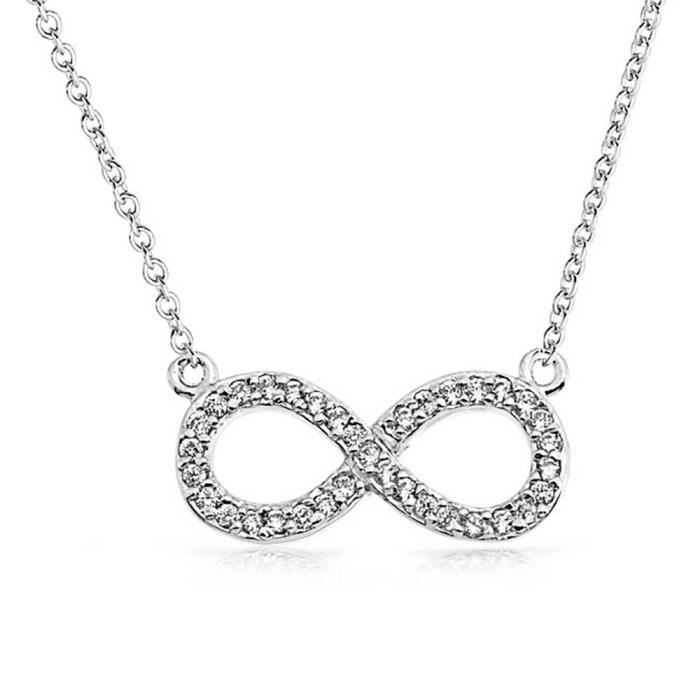 Bling Jewelry Ouvrir CZ Figure 8 LInfini pendentif collier en Argent Sterling 925 16en
