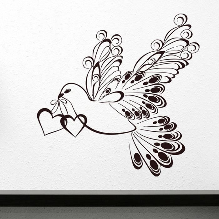 noir stickers muraux oiseaux d amour salon chambre. Black Bedroom Furniture Sets. Home Design Ideas