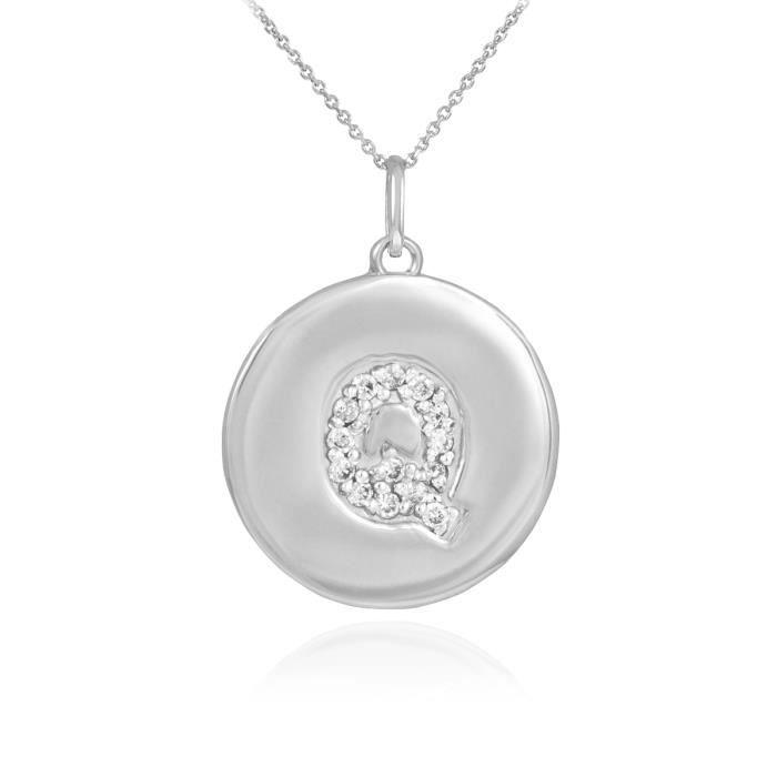 Pendentif 10 ct Or Blanc 471/1000 première lettre Qpendentif en forme de diamant Disc