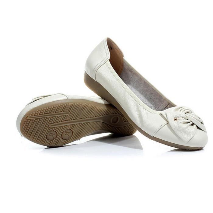 Chaussures vert Vert Loisirs blanc De fruit Plates gris beige rouge Cuir bleu noir abricot Orange Beige Femmes qfSqt