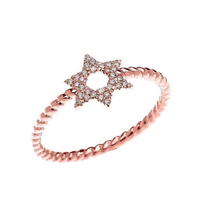 Bague Femme 14 Ct Or Rose Étoile De David Diamant Conception De Corde
